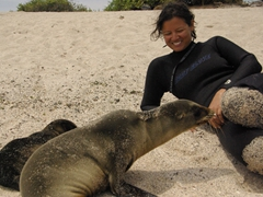 A curious sea lion checks Becky out; San Cristobal's La Loberia