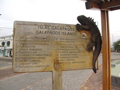 The 17 islands of the Galapagos; signpost in San Cristobal