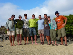 Alvaro, Helene, Luke, Ruben, Con, Becky, Rachel and Robby; Genovesa's Darwin Bay