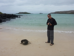 Robby and a sea lion pup had a face off until the sea lion started nuzzling itself; Santa Fe