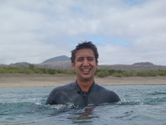 Luke enjoying our snorkeling experience at Floreana