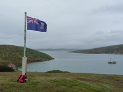 The Falkland Island flag proudly on display at West Point Island