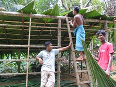 Locals building a shelter in preparation for Vesak; near Anuradhapura