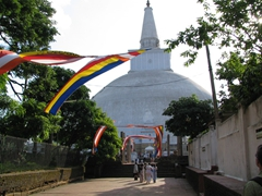 Walkway leading to Ruwanwelisaya, one of the world's most sacred stupas for Buddhists worldwide