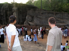 Becky and Robby admire the reclining Buddha at Gal Vihare; Polonnaruwa