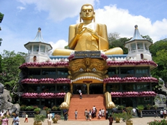 Entrance to the Dambulla Golden Temple (this seated Buddha was reputedly the largest in the world but that has since proven to be false)