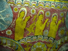 Paintings on the walls of Dambulla cave complex