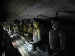 View of seated Buddhas in the Cave of the Great Kings; Dambulla Cave Temple