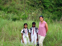 Becky with two school girls, Hunas Falls