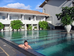 Robby takes a dip in the pool at Negombo's Blue Oceanic Beach Hotel