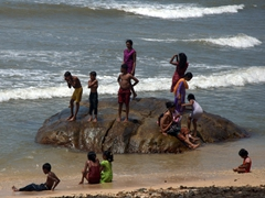 Beach scene at Galle Fort