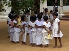 Young children attending Buddhist School; Lake Ratgama