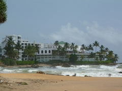 View of the 200 year old Mount Lavinia Hotel, one of the oldest and most famous hotels in Sri Lanka. Originally built as a governor's mansion, it today has 275 rooms overlooking the Indian Ocean