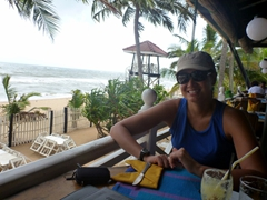 Becky at the Golden Mile restaurant in Mount Lavinia (the view and sea breeze were great, but the food left a lot to be desired)