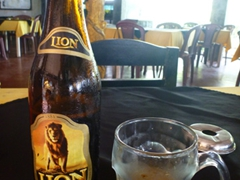 Robby enjoying a local brew, Lion Lager at Francis Restaurant; Hikkaduwa