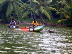 Locals fishing on Ratgama Lake, a salt water lagoon located in Dodanduwa