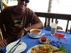 Robby smiling at our excellent meal at Banana Garden restaurant; Unawatuna