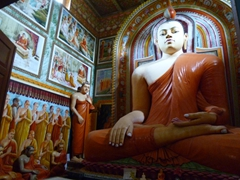 Seated Buddha in a monastery on Ratgama Lake