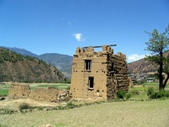 Mud brick house (note: the Bhutanese are reluctant to tear down old dwellings. Hence you will see lots of these ruins throughout the country)