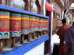 Prayer wheels are a common sight in downtown Paro
