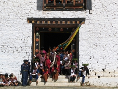 Festival viewers grab a seat wherever they can find one! Paro Festival