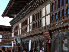 Traditional storefronts on the main street of Paro
