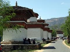 Stupas lining Paro street