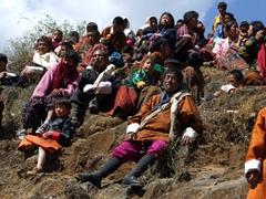 Spectators enjoying the Paro Tsechu