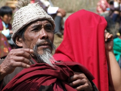 Sunburn at the Paro festival is a definite threat, so these locals ensured their heads were covered
