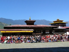 View of the crowd watching the Paro Tsechu