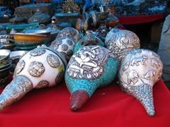 Decorative conch shells at Paro Festival