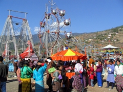 Fair rides brought from India for the Paro Festival