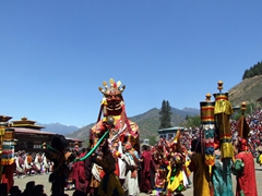 The huge statue of Shinje, the Lord of Death (dance of the Judgment of the Dead); Paro Festival