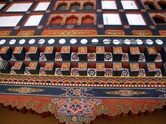 Ornate beams; Paro Dzong