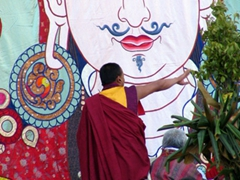 This monk was directing the roll up of the huge Thangka; Paro Tsechu