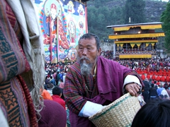 Distribution of festival offerings; Paro Tsechu