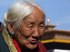 Close up of an elder Bhutanese woman at Paro Dzong
