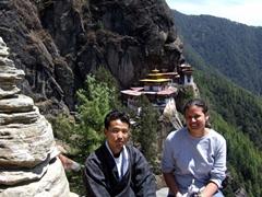 Aryan and Becky; Taksang Monastery
