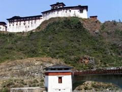 View of Wangdue Dzong by the riverside