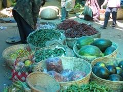 Fruits and veggies at Thimpu weekend market