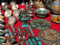 Religious trinkets for sale by local vendors at Paro Festival