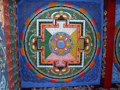 Vivid ceiling; interior of the Zangto Pelri Lhakhang chapel