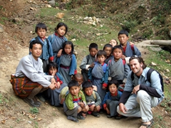 Robby with Aryan and school children from his home village