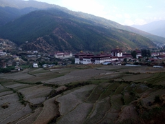 Scenic view of Trashi Chhoe Dzong, a 12th century Thimphu monastery