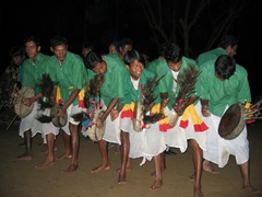 Tharu villagers performing a traditional dance, Chitwan National Park