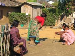 Tharu village scene