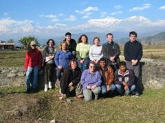 Group photo with Himalayan backdrop
