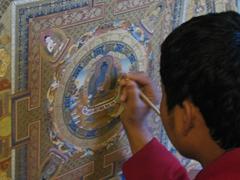 Thanka artist perfecting his craft, Pokhara