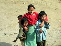 Playful Tharu children