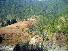 Scenic steep terraced hills on the drive from Chitwan National Park to Pokhara